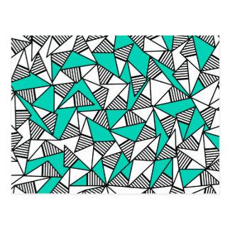 Moderne aquamarine, schwarze u. weiße gestreifte postkarten