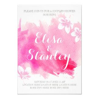 Moderne Aquarellrosablüten-Paardusche 12,7 X 17,8 Cm Einladungskarte