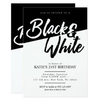 Moderne Art Schwarzweiss Party Einladungen
