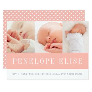 Moderne Babymädchen-Geburtsmitteilung mit drei Karte