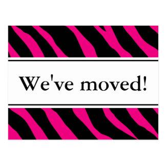 Moderne bewegliche Zebrastreifen Pink der Postkarten