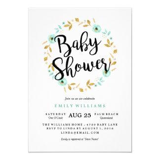 Moderne blaue Blüten-Babyparty-Einladung Karte