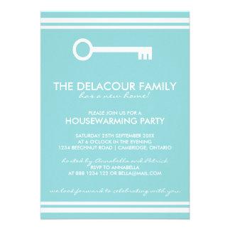 Moderne blaue Housewarming-Party Einladung