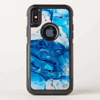 Moderne blaue MarmorImitat-Art OtterBox Commuter iPhone X Hülle