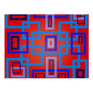 Moderne blaue Quadrate auf rotem Hintergrund Postkarte