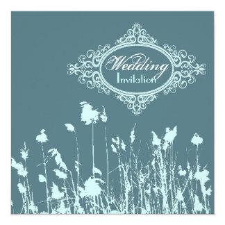 Moderne blaue rustikale Land-Hochzeits-Einladung