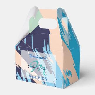 Moderne blaue Seemonogramm-Gastgeschenk Hochzeit Geschenkschachtel