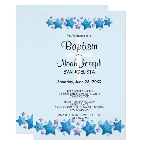 Moderne Blaue Sterne Taufe Ereignis Einladung Einladung