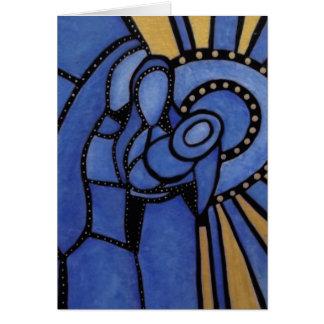 Moderne blaue WeihnachtsGeburt Christi Jesus Mary Karte