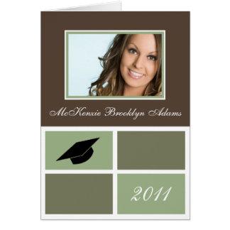 Moderne Blöcke falteten Abschluss-Einladung (Grün) Grußkarte