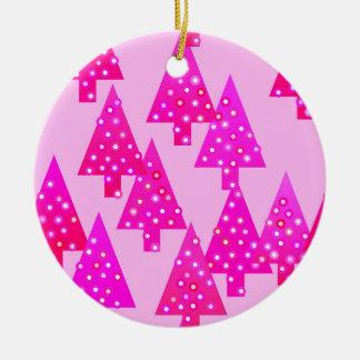 Moderne Blume Weihnachtsbäume - Fuchsienrosa Keramik Ornament