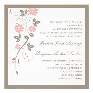 Moderne Blumenhochzeits-Einladung - weich Rosa
