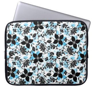 Moderne Blumenmuster-Laptop-Hülse - Blau/Schwarzes Laptopschutzhülle