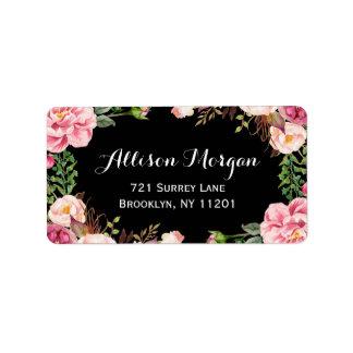 Moderne Blumenverpackung nobel und romantisch Adress Aufkleber