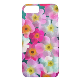 Moderne Blüten - rosa magentarote gelbe weiße iPhone 8/7 Hülle