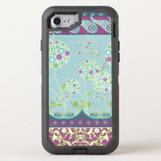 Moderne Boho Paisley Blumenmarine-lila OtterBox Defender iPhone 8/7 Hülle