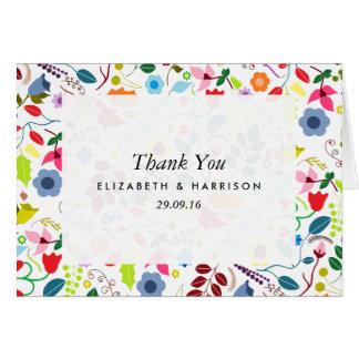 Moderne Boho schicke Blumenhochzeit danken Ihnen Karte