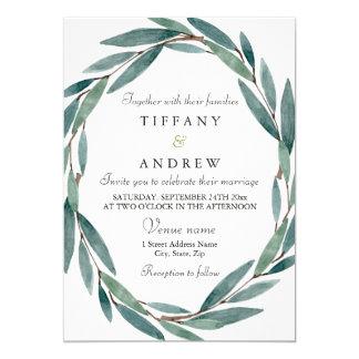 Moderne botanische Blatt-Kranz-Hochzeits-Einladung Karte