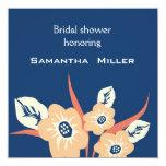 Moderne Brautparty-Einladungen:: Marine-Blau Quadratische 13,3 Cm Einladungskarte