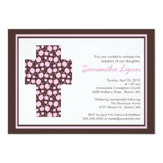 Moderne Brownrosa Quermädchen-Taufe-Einladung 12,7 X 17,8 Cm Einladungskarte