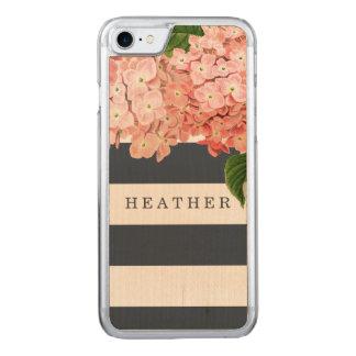 MODERNE Chic-breite StreifenVintager Hydrangea mit Carved iPhone 8/7 Hülle