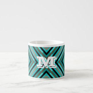 Moderne diagonale Schachbrett-Schatten des Grüns, Espressotasse