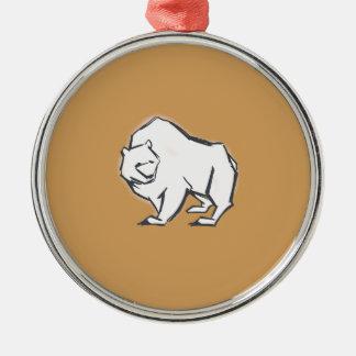 Moderne, einfache u. schöne Hand gezeichneter Bär Silbernes Ornament