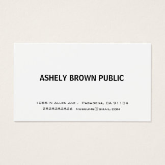 Moderne einfache weiße Visitenkarte