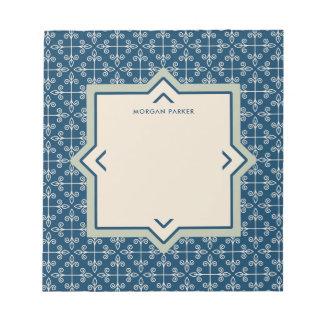 Moderne elegante Blaue und erröten Muster Notizblock