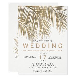 Moderne elegante Hochzeit der Imitatgoldpalme 12,7 X 17,8 Cm Einladungskarte