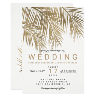 Moderne elegante Hochzeit der Imitatgoldpalme Karte