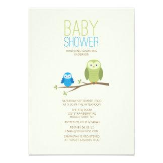 Moderne Eulen-Babyparty-Einladung - Junge