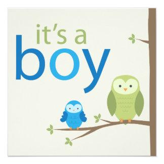 Moderne Eulen-Babyparty-Einladung - Junge Quadratische 13,3 Cm Einladungskarte
