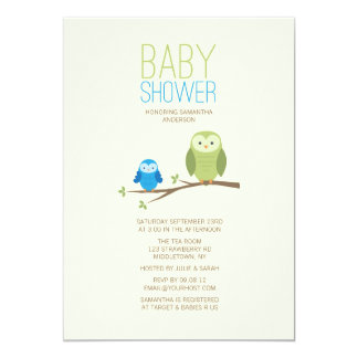 Moderne Eulen-Babyparty-Einladung - Junge 12,7 X 17,8 Cm Einladungskarte