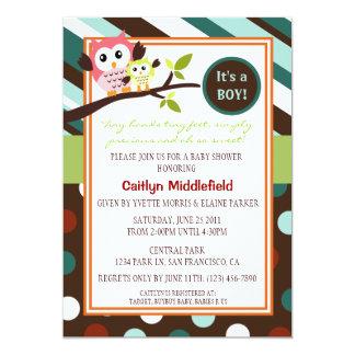 Moderne Eulen-Babyparty laden ein 12,7 X 17,8 Cm Einladungskarte
