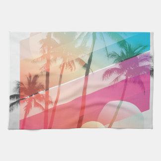 Moderne Farbe stripes Kokosnussbaumhintergrund Geschirrtuch
