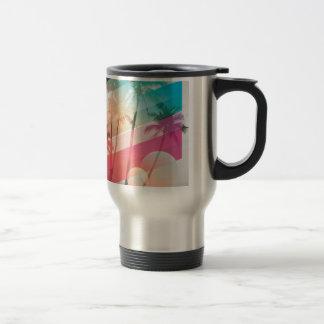 Moderne Farbe stripes Kokosnussbaumhintergrund Reisebecher
