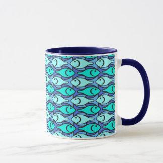 Moderne Fische, Blau und Aqua der Mitte des Tasse