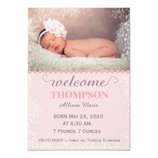 Moderne Foto-Baby-Mitteilungs-Karte (Mädchen) Karte