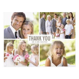 Moderne Foto-Collagen-Hochzeit danken Ihnen Postkarte
