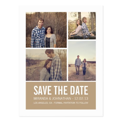 Moderne Foto-Save the Date Postkarten Browns