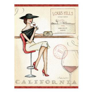 Moderne Frauen-trinkender Wein Postkarte