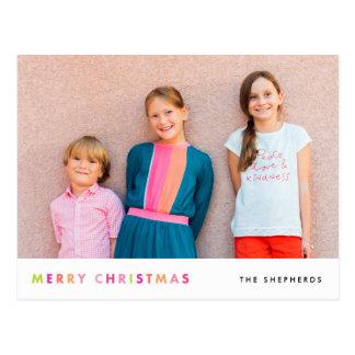 Moderne frohe Weihnacht-Foto-Neonpostkarte Postkarte