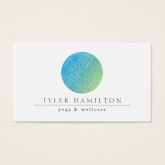Moderne geätzte blaues Grün-Kreis-Visitenkarte Visitenkarten