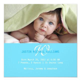 Moderne Geburts-Mitteilung Quadratische 13,3 Cm Einladungskarte
