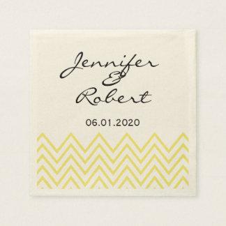 Moderne gelbe Zickzack Hochzeits-Serviette Serviette
