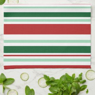 Moderne gemischte rote, grüne, weiße Streifen Handtuch