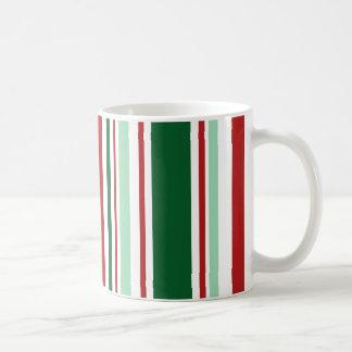 Moderne gemischte rote, grüne, weiße Streifen Tasse