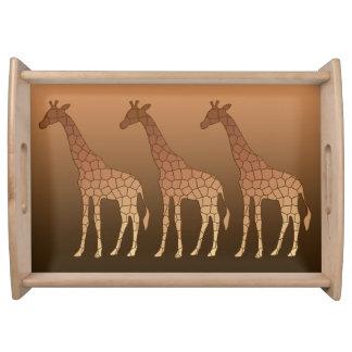 Moderne geometrische Giraffe, Kupfer und Brown Tablett