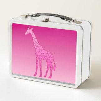Moderne geometrische Giraffe, pinkfarben und Metall Lunch Box